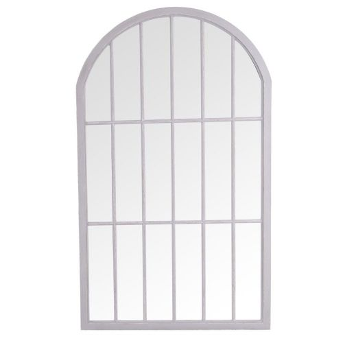 . Large Arched Window Mirror Grey